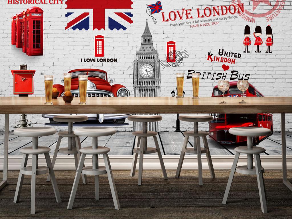 工装壁画壁纸现代复古怀旧英国伦敦破旧英伦风情红色欧式建筑手绘