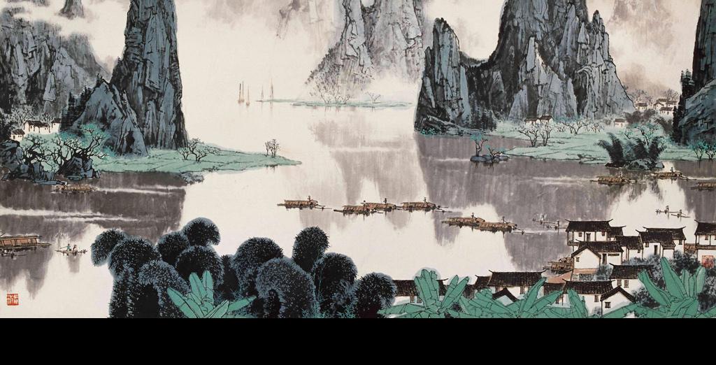 大型水墨画早春漓江山水手绘中式背景墙