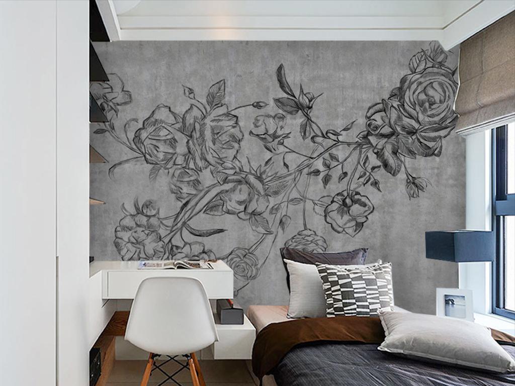 背景墙|装饰画 电视背景墙 美式背景墙 > 美式花朵线条白描手绘电视图片