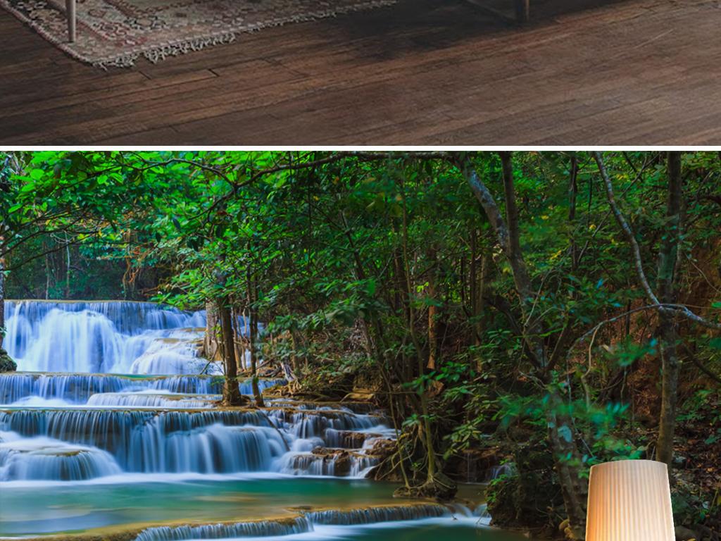 绿色环保树林瀑布流水生财风景油画背景墙