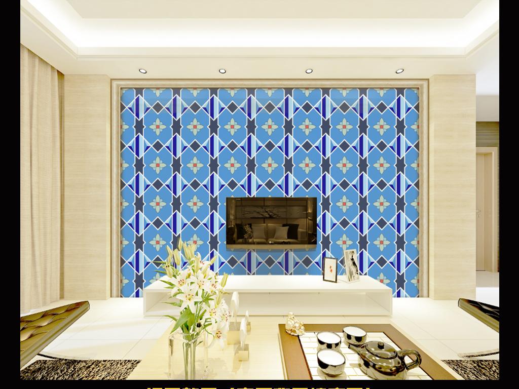 简洁几何地中海风格海蓝色小花砖背景墙