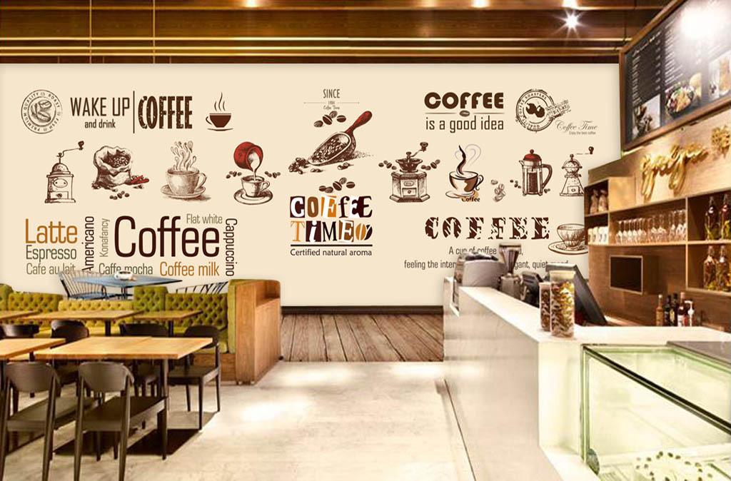 手绘欧美咖啡店背景墙