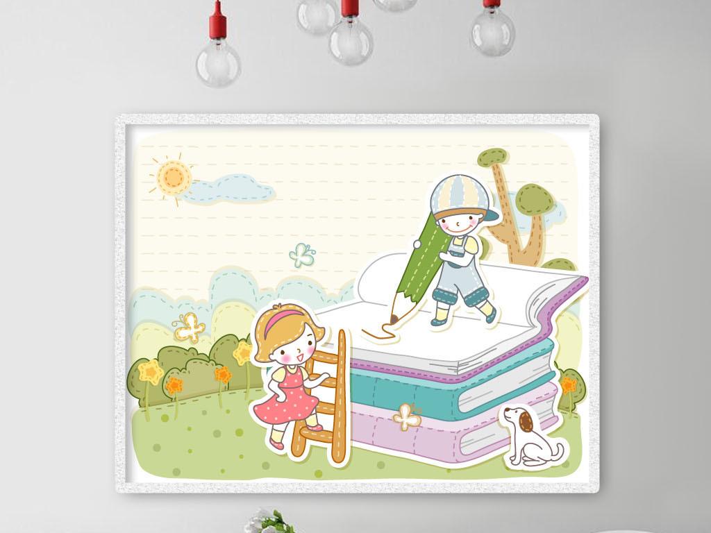 0111卡通插画爬楼梯在书本画画的小孩子