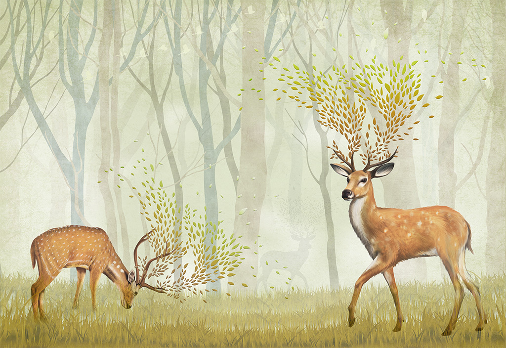 手绘陶瓷落叶抽象树抽象驯鹿麋鹿梅花鹿迷幻森林树林树木大树小鸟树叶
