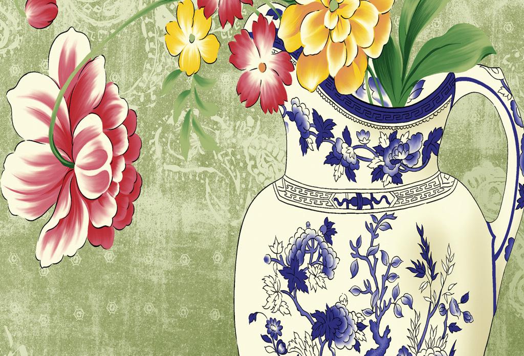 新中式花卉花瓶油画装饰画图片