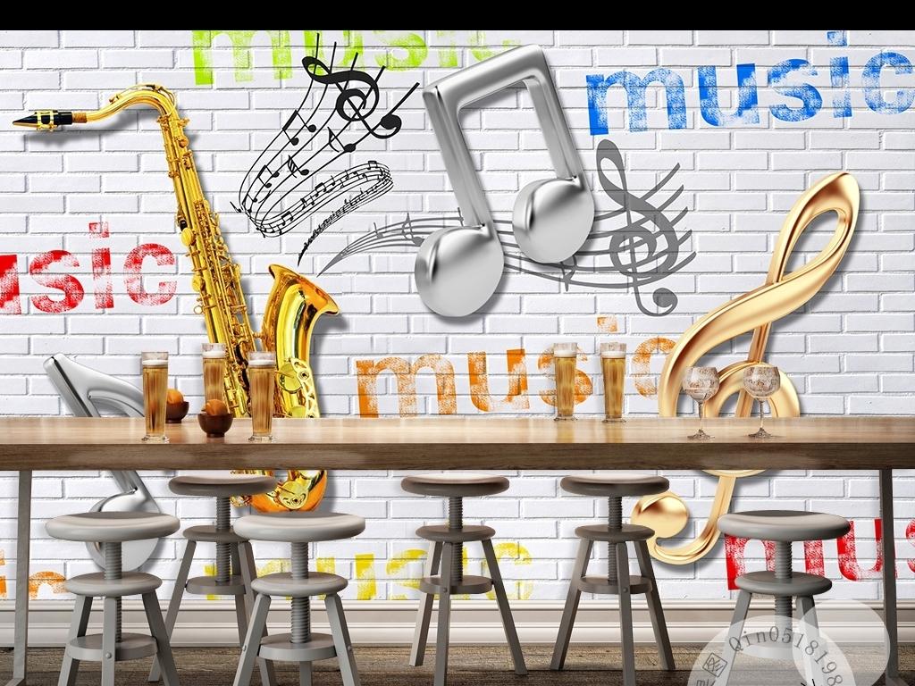 萨克斯音符创意背景墙壁纸