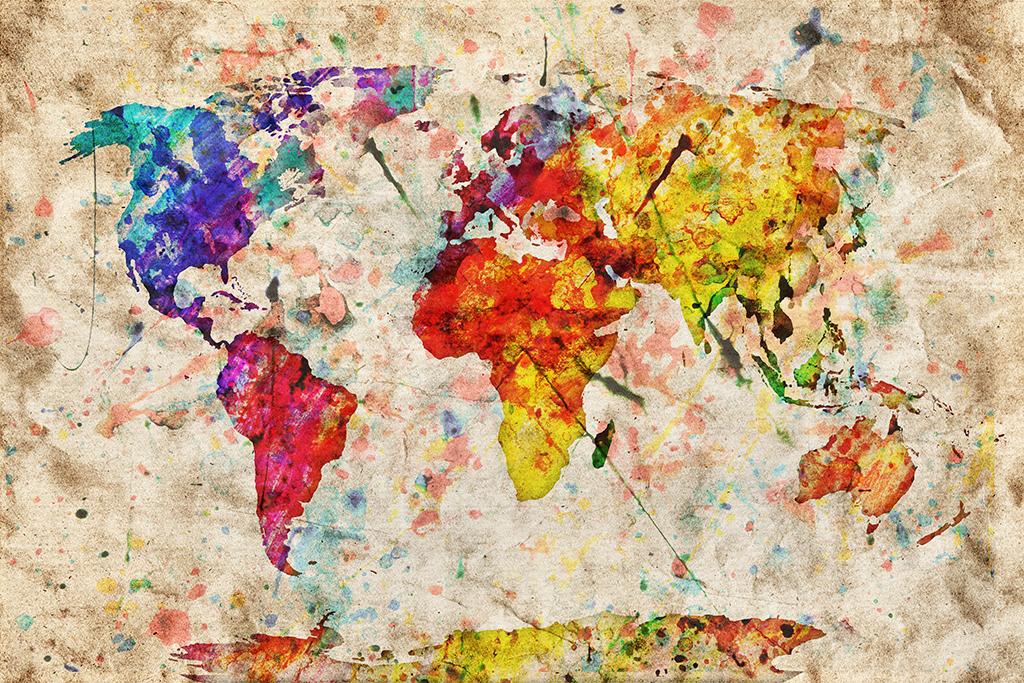 超高清手绘复古彩色世界地图背景墙