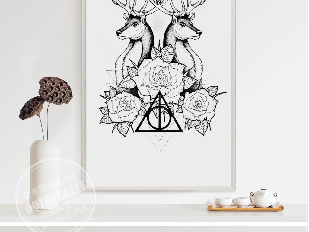 玫瑰花简约无框画北欧风格北欧无框画黑白无框画线条画极简无框画动物