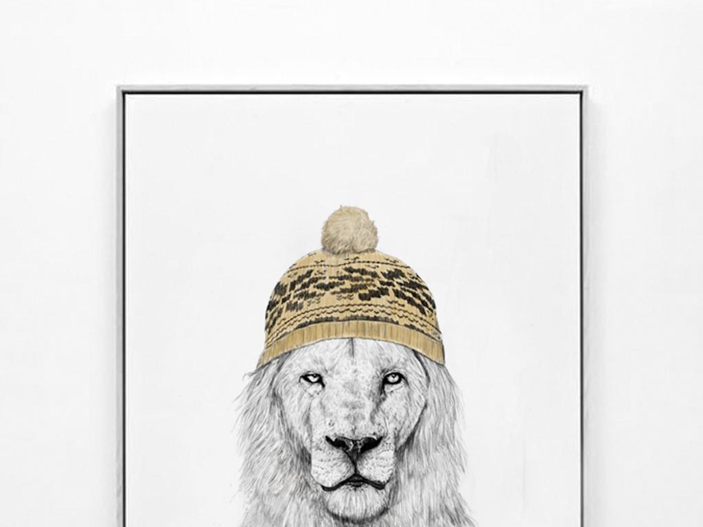 北欧简约手绘动物狮子