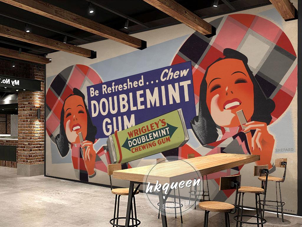 欧式卡通抽象人物海报口香糖手绘背景墙