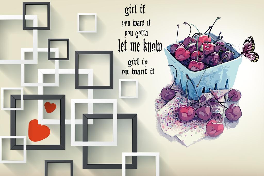 花卉爱心欧式花纹欧式爱心艺术现代简约女孩立体方块框手绘墙绘