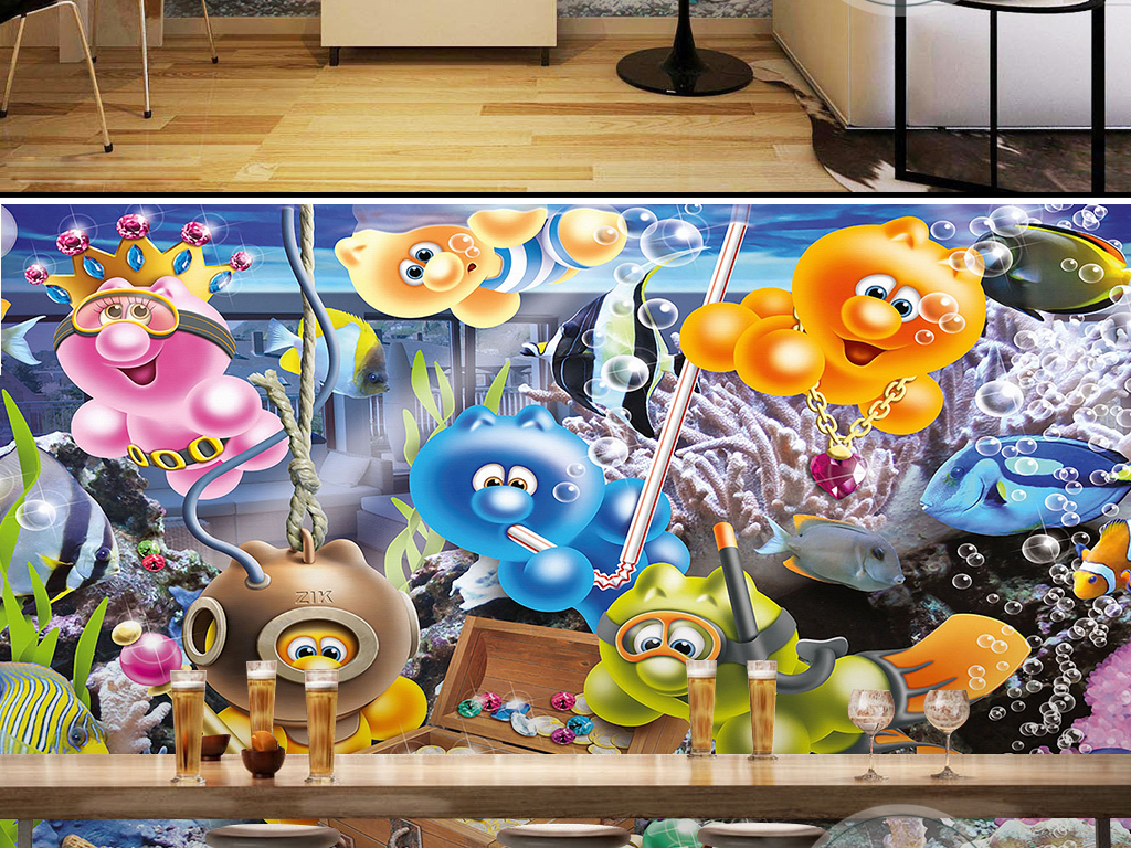 3d动物卡通创意动漫海底宝藏儿童背景墙