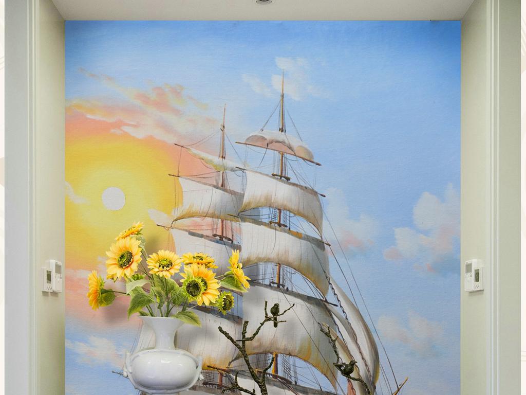 纯手绘立体油画一番顺风艺术玄关