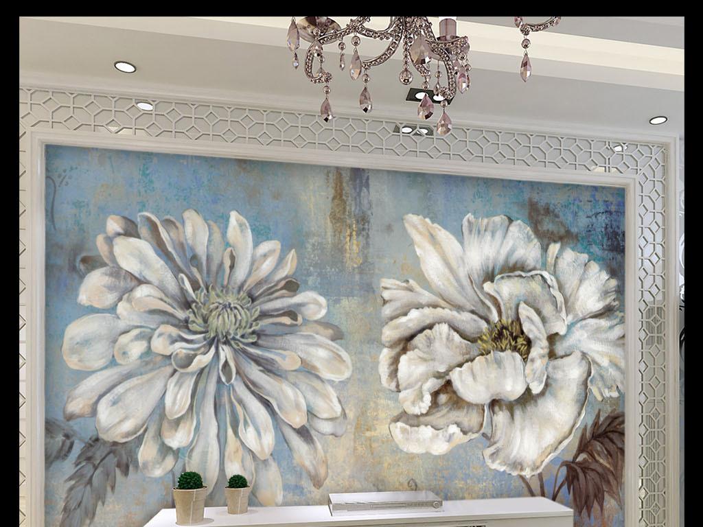 欧式简约复古白色花(图片编号:15087989)_欧式电视墙