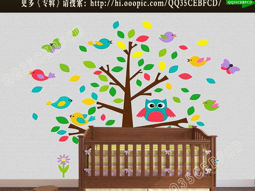 树艺术墙简约壁画儿童房卧室壁画卧室婴儿房儿童娱乐室幼儿园幼儿室