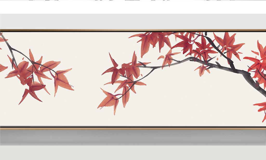 简水墨枫叶床头横幅装饰画图片