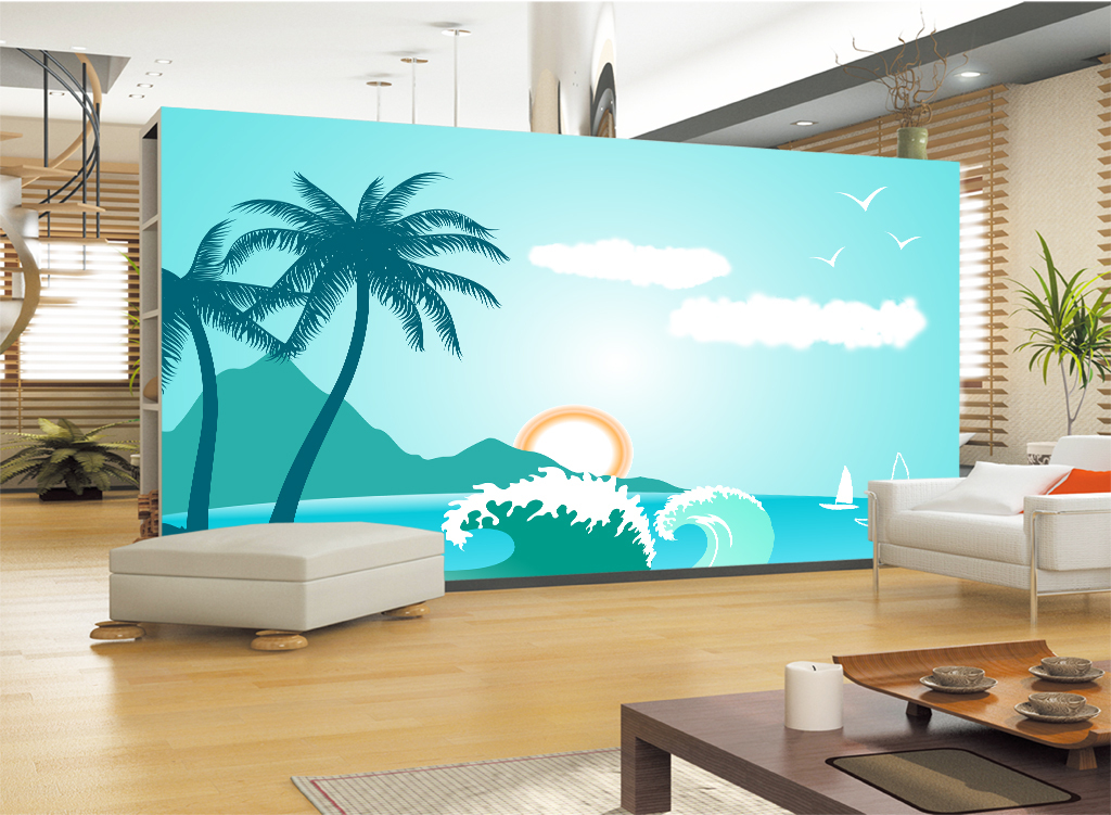 手绘椰树大海海边云朵海鸥太阳背景墙