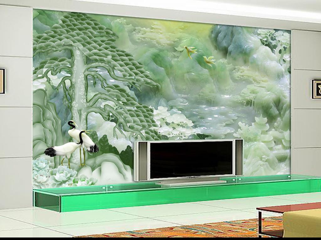 仙鹤迎客松玉雕电视背景墙