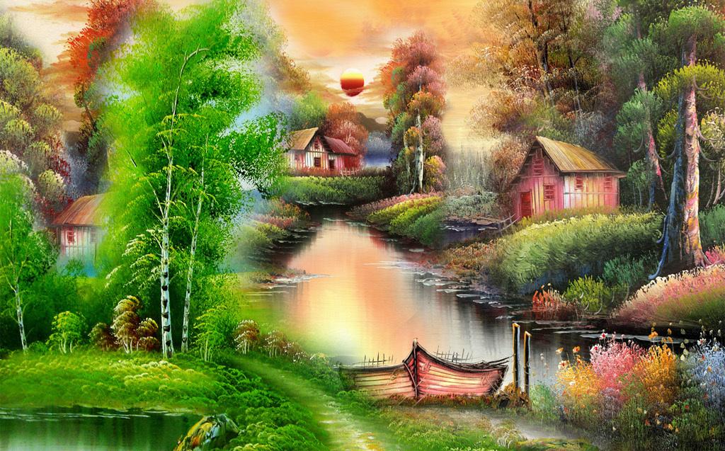 油画|立体油画电视背景墙 > 高清电视背景墙油画风景林中小屋