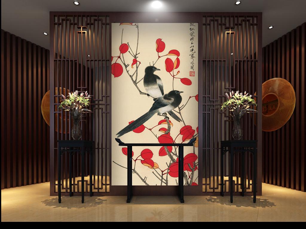 中式会馆会所会馆书房客厅沙发壁纸古色古香水墨花鸟红叶禅意喜鹊双喜图片