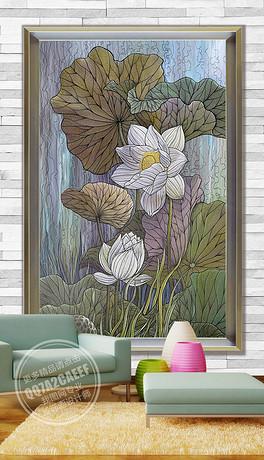 欧式手绘荷花玄关背景墙图片