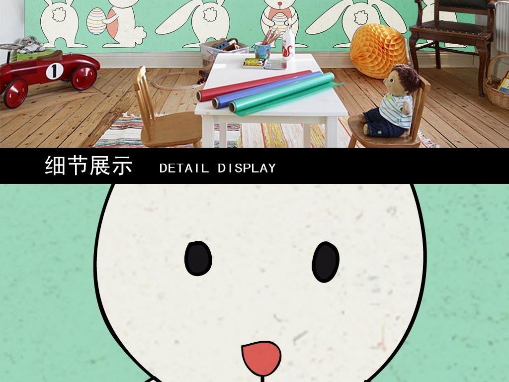 卡通可爱一排小白兔儿童房背景墙