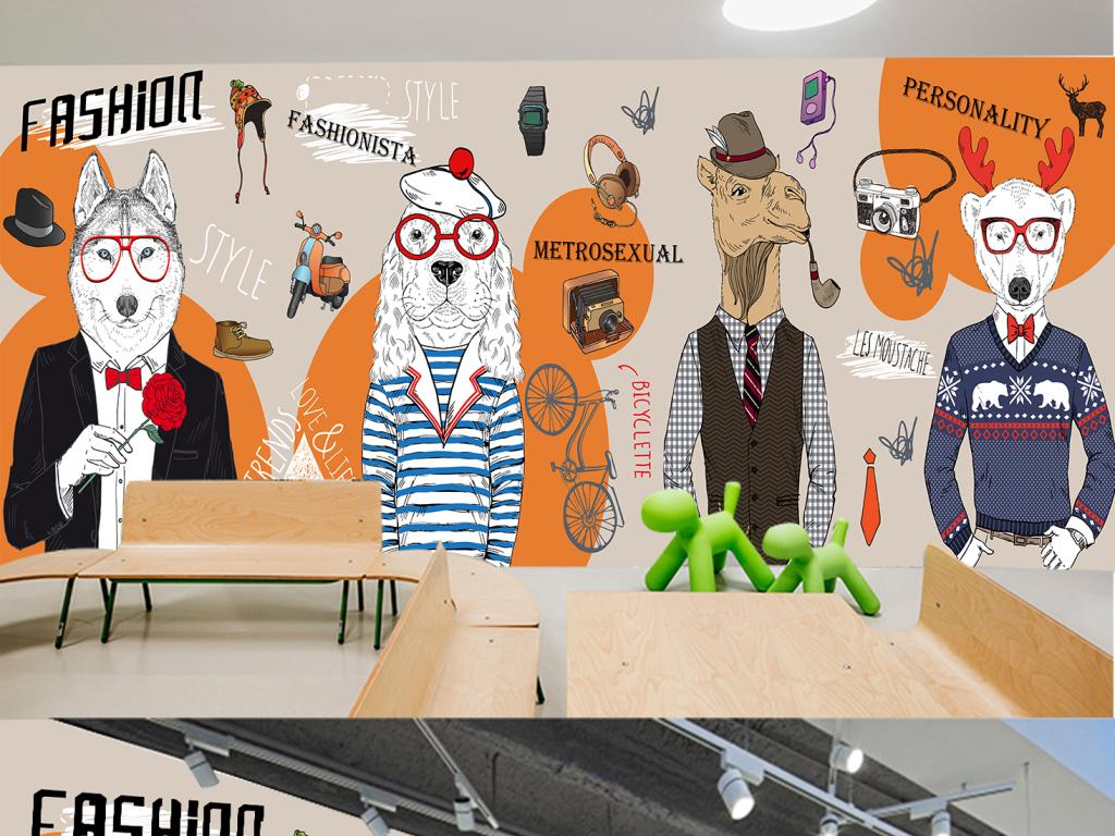 个性手绘抽象动物服装店咖啡厅背景墙