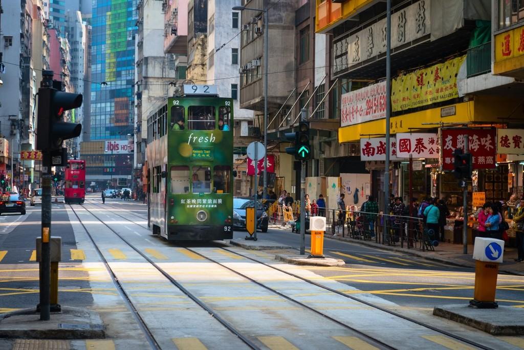 香港街道背景墙