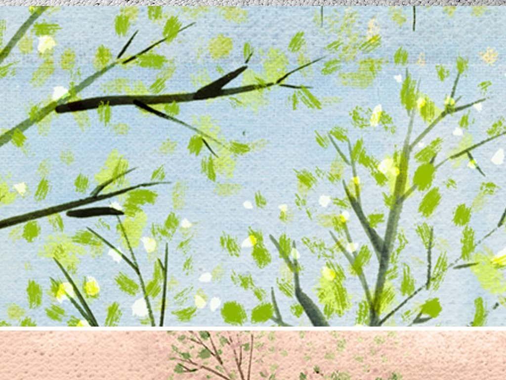 北欧风格简约抽象四季小树林风景装饰画