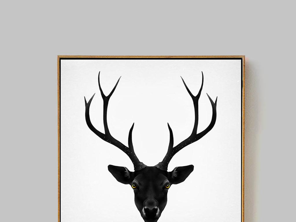 北欧风格简约手绘麋鹿装饰画