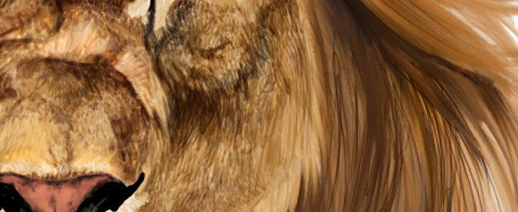 北欧风格简约手绘狮子和狐狸动物装饰画