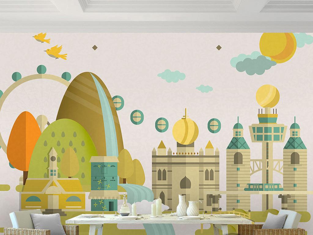 手绘卡通幼儿园建筑城堡小树飞鸟儿童房背景