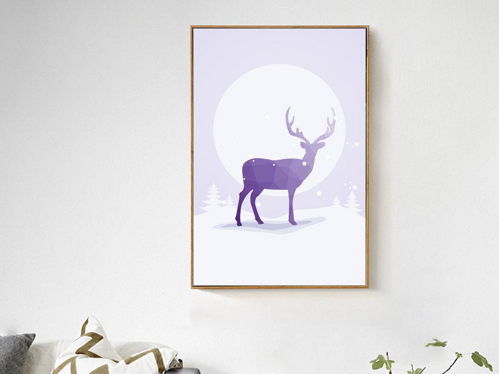 北欧风格简约彩绘月亮雪地麋鹿森林鹿装饰画