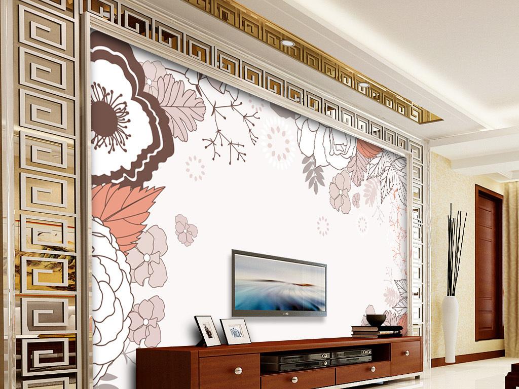 欧式电视沙发卧室碎花壁纸背景墙手绘人物手绘背景手绘墙手绘背景墙