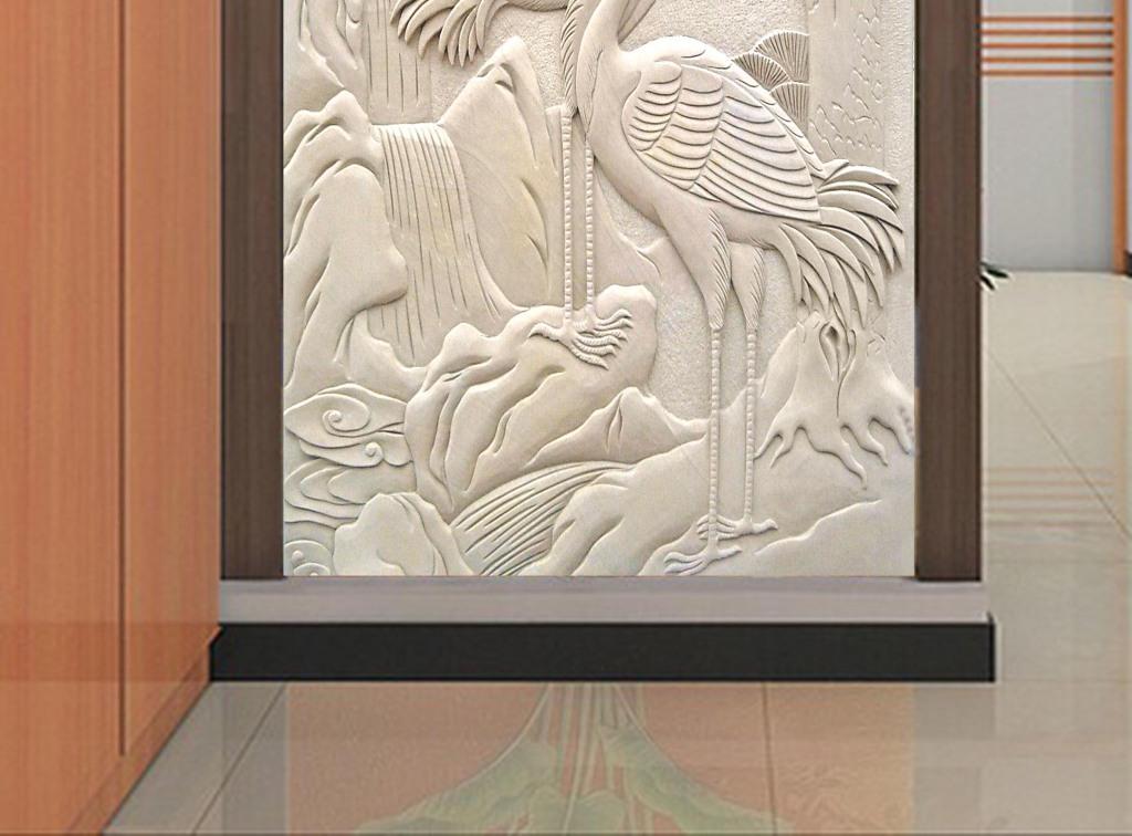松鹤延年中式砂岩浮雕图片