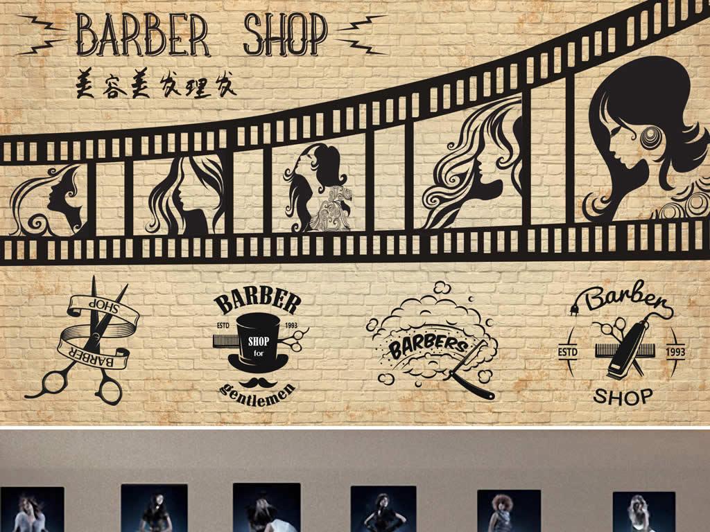 背景墙|装饰画 工装背景墙 形象墙 > 欧美复古怀旧砖墙木板美发理发店