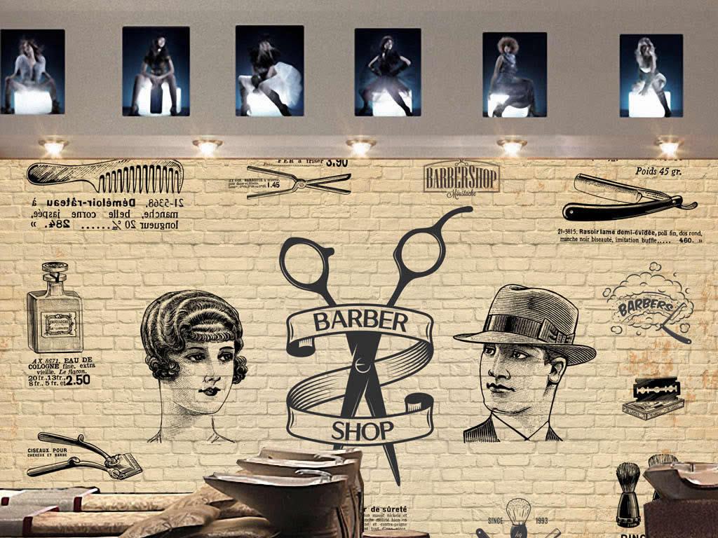 背景墙|装饰画 工装背景墙 形象墙 > 欧美怀旧复古砖墙木板美发店理发图片