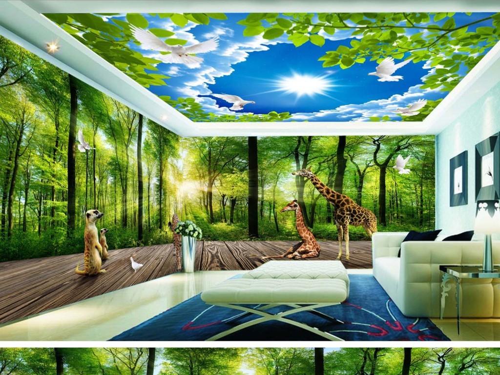 麋鹿绿色森林3d立体主题空间背景墙