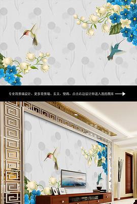 手绘花纹小清新现代简约电视背景墙104