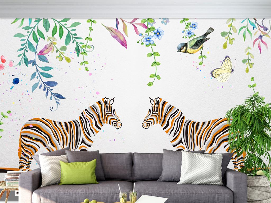 水彩简约斑马手绘客厅背景墙图片素材 效果图下载