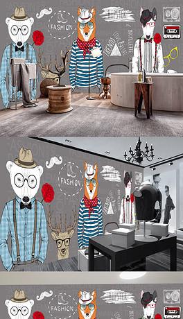 手绘抽象动物服装店咖啡厅装饰墙-PSD手绘橱窗 PSD格式手绘橱窗素