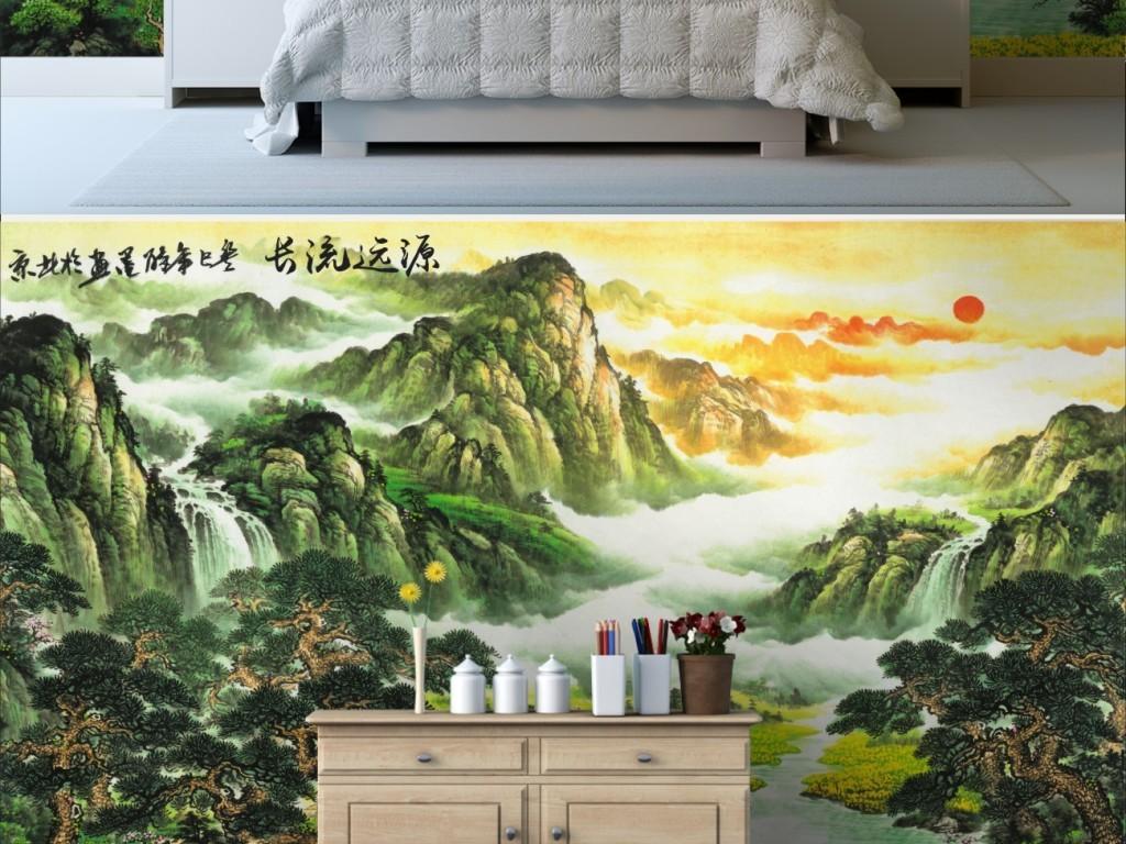 背景墙|装饰画 山水风景画 山水风景画 > 源远流长聚宝盆靠山图风水