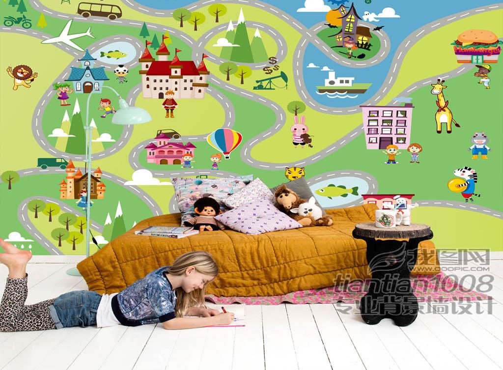 背景墙|装饰画 电视背景墙 手绘电视背景墙 > 卡通儿童游乐园儿童房