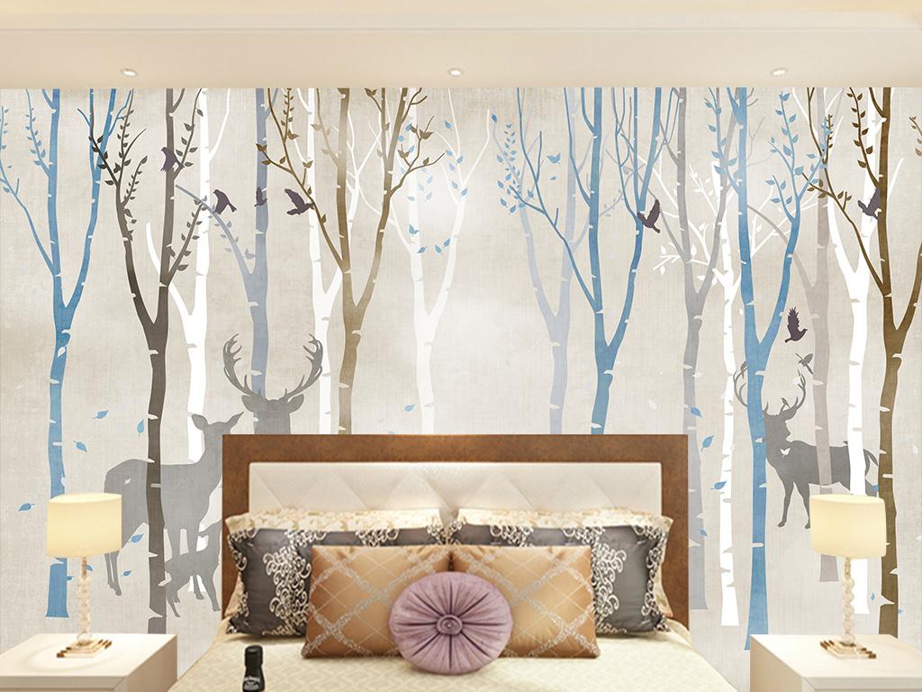 手绘梅花鹿条纹梦幻森林热带植物森林森系鹿林田园电视背景墙图片玻璃
