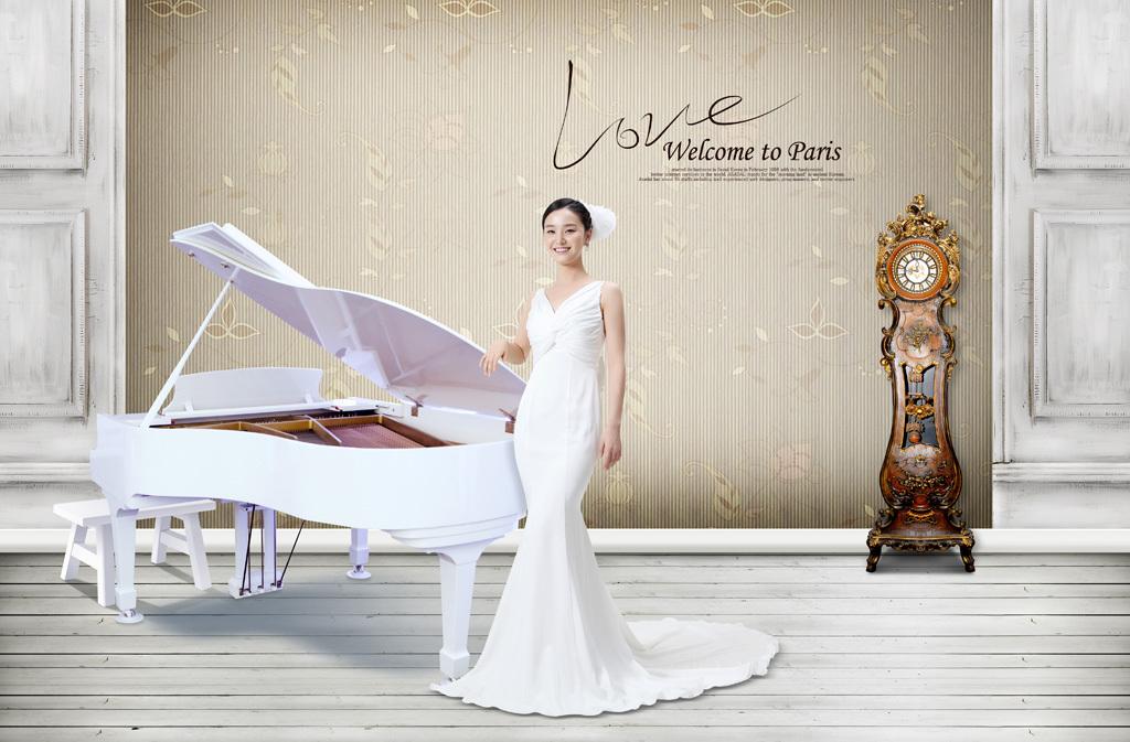 欧式古钟奢华高贵韩国婚纱摄影写真设计背景