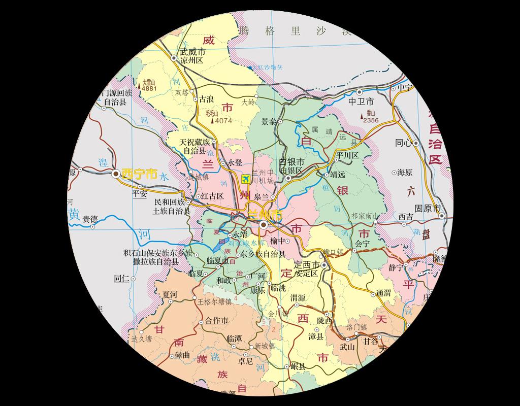 甘肃省行政区划地图