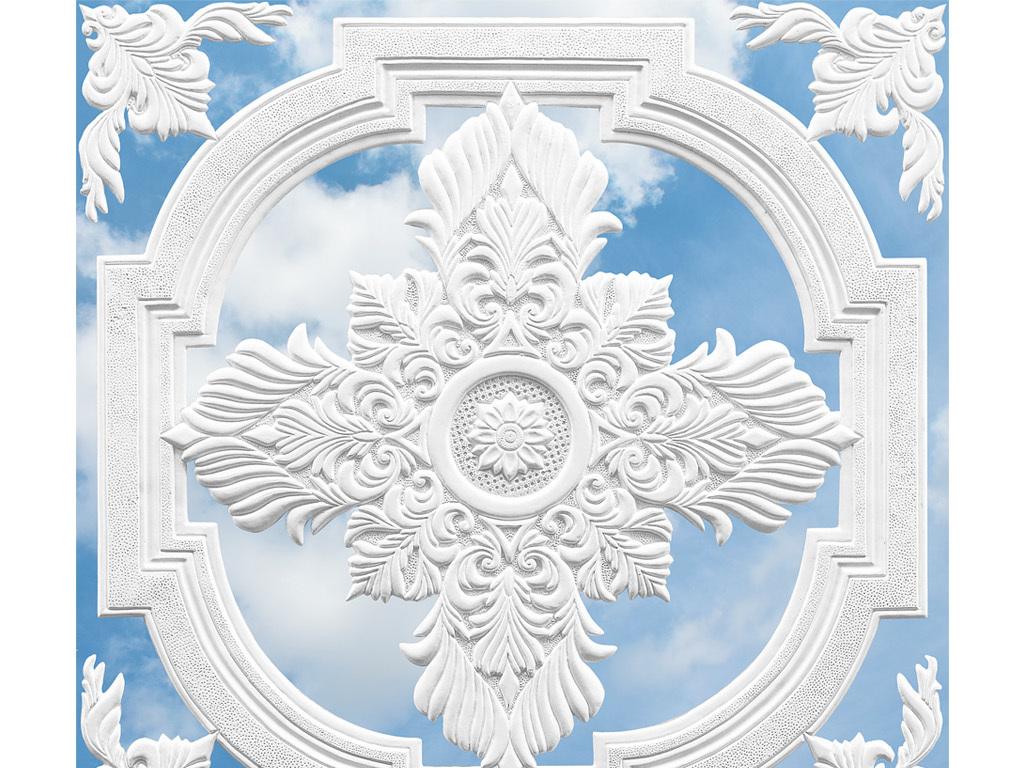 3d立体白色欧式雕花蓝天白云天花板背景墙