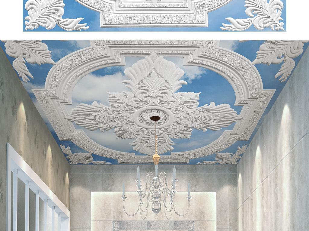 tif分层)欧式客厅天花板天花吊顶造型设计复式客厅石膏线条2016别墅吊