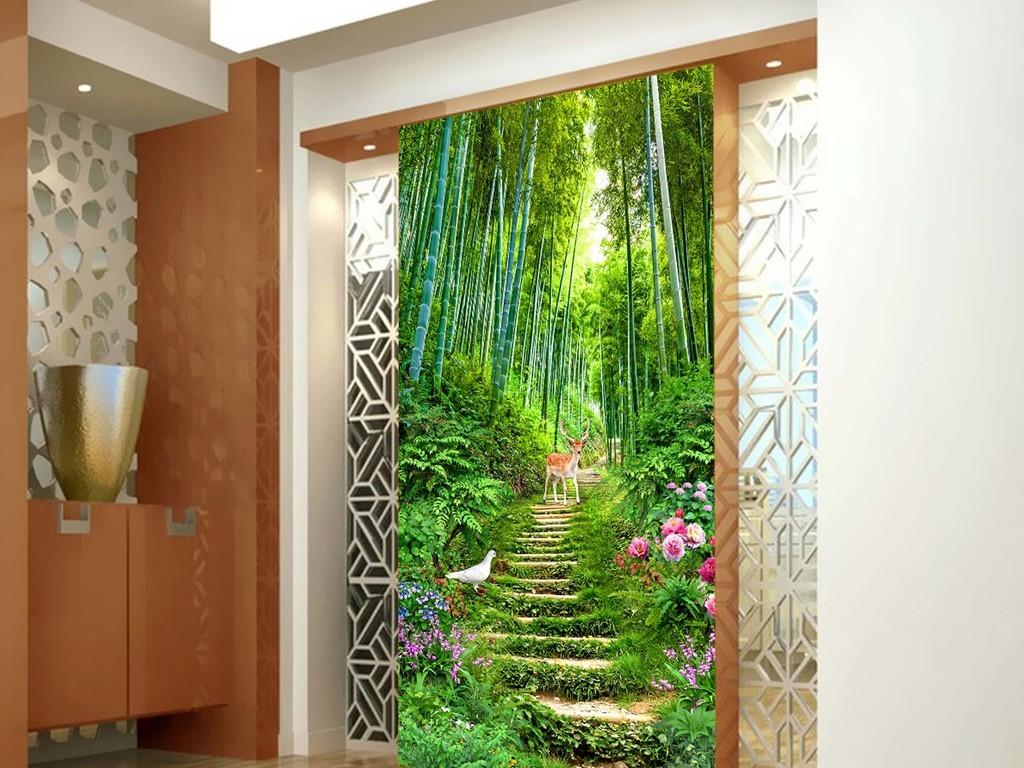 背景墙|装饰画 玄关 3d玄关 > 高清竹林小道玄关风景画背景墙