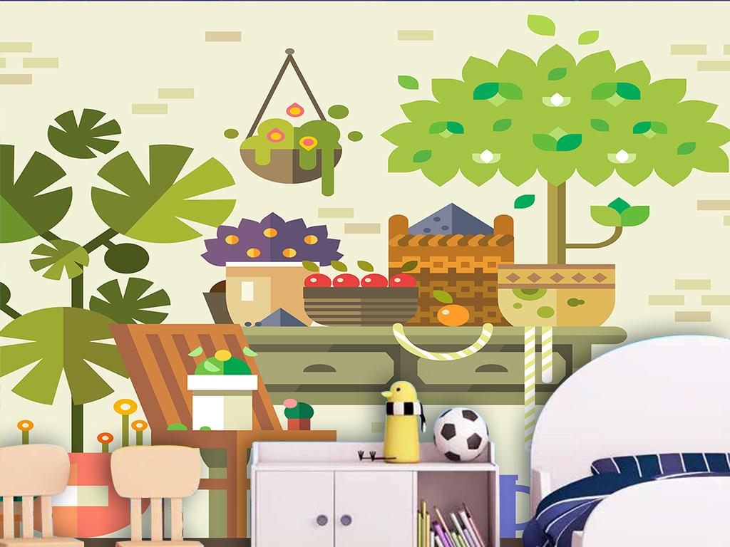 抽象大树书桌水果花卉手绘卡通儿童房背景墙
